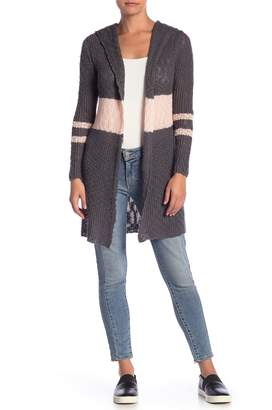 Sweet Romeo Stripe Open Knit Hooded Cardigan