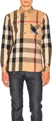 Burberry Herringbone Stretch Giant Check Shirt