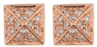 Ef Collection 14K Rose Gold Diamond Pave Mini Pyramid Stud Earrings - 0.18 ctw