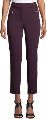 Iconic American Designer Crepe Scuba Skinny Zipper Pants