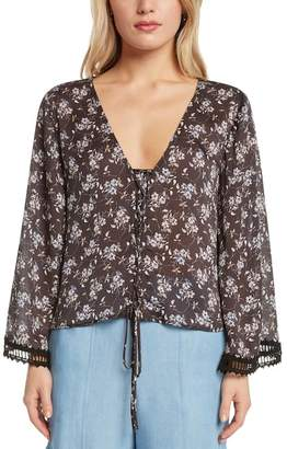 Willow & Clay Lace-Up Floral Top