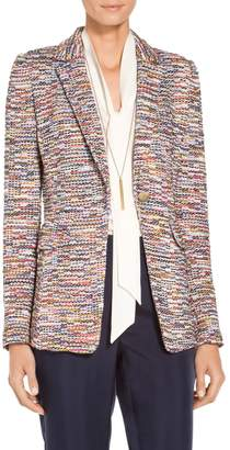 St. John Vertical Fringe Multi Tweed Knit Jacket