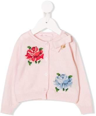 Miss Blumarine floral intarsia cardigan