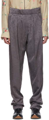 Haider Ackermann Grey Elasticated Floral Trousers