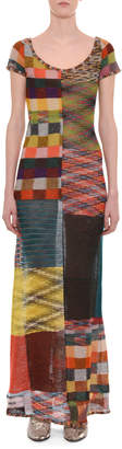Missoni Scoop-Neck Cap-Sleeve A-Line Patchwork Dress