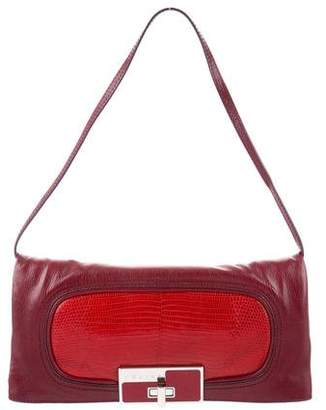 Celine Lizard-Trimmed Leather Bag