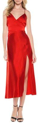 Bardot Blair Cross Back Satin Tea Length Dress