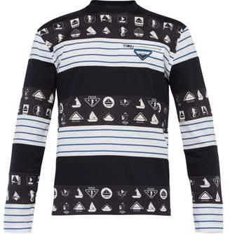 Prada Nautical Print Long Sleeved Cotton T Shirt - Mens - Navy