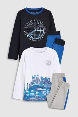 Next Boys Navy Glitch Print Pyjamas Two Pack (3-16yrs)