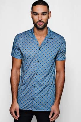 boohoo Geo Star Print Short Sleeve Jersey Shirt