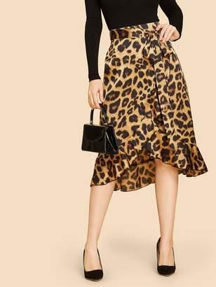 Shein Asymmetric Ruffle Hem Leopard Skirt