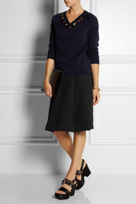 Marni Pleated wool-crepe A-line skirt