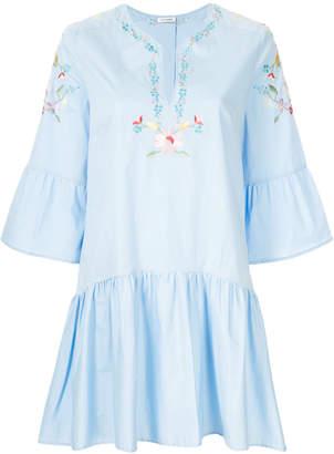 Vilshenko floral embroidered peplum hem dress