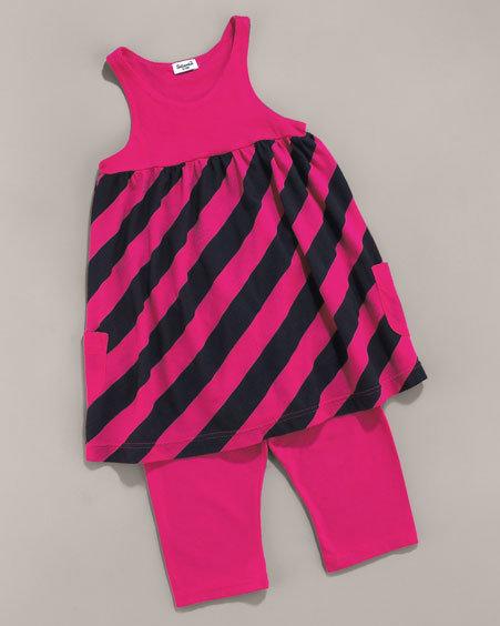 Splendid Littles Striped Dress & Leggings Set