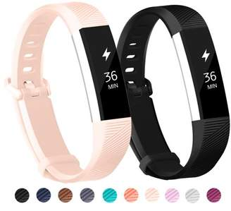 Fitbit POY 2-Pack Replacement Sport Wrist Strap Bands for Alta Alta HR (Black, Pink)