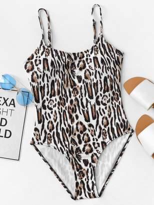 e313778cfe Shein Leopard Pattern One Piece Cami Swimsuit