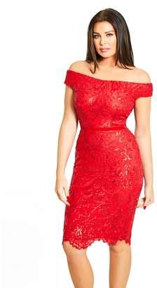 Jessica Wright Sistaglam Love Jessica - Red 'Marni' Vip Sequin Lace Bardot Bodycon Dress