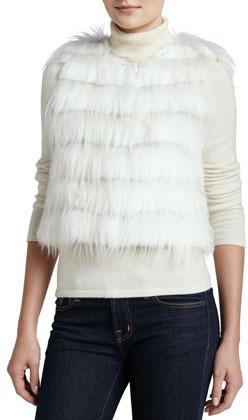 Trilogy Rabbit & Goat Fur Tiered Vest, Ivory