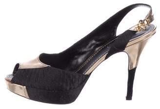 Louis Vuitton Satin Monogram Platform Sandals