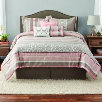 Mainstays King Jacquard Multi-Color Stripe Comforter Set, 7 Piece