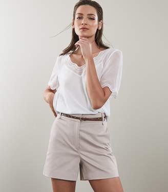 Reiss PORTO SCALLOP EDGE T-SHIRT Floral White