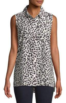 Ellen Tracy Printed Sleeveless Button-Down Shirt