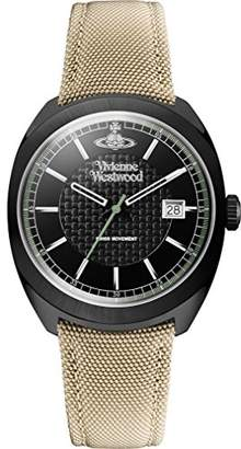 Vivienne Westwood Men's Quartz Watch with Black Dial Analogue Display and Beige Fabric and Canvas Strap VV136BKBG