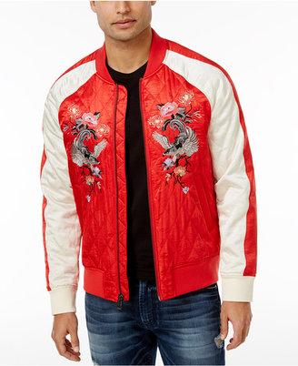 GUESS Men's Irvine Satin Bomber Jacket $148 thestylecure.com
