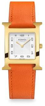 Hermes Heure H Goldplated& Leather Strap Watch