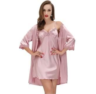 SUNBABY Women Sexy Silk Satin Robe Camisole Pajama Dress Two Piece suit  Sleepwear ( 877c3c9bb