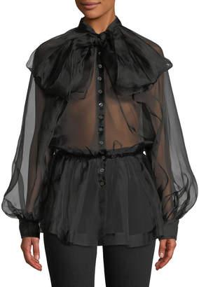 Anais Jourden Silk Organza Tie-Neck Button-Front Blouse