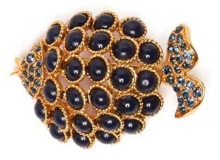 Oscar de la Renta Stone Embellished Fish Brooch - Womens - Blue