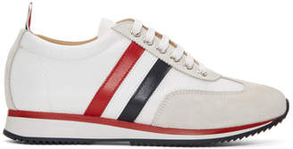 Thom Browne White Suede and Tech Tricolor Stripe Running Sneakers