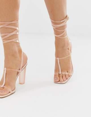 Barely There Asos Design ASOS DESIGN Headline block heeled sandals