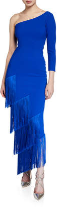 Chiara Boni Pippi One-Shoulder Asymmetric Fringe-Trim Dress