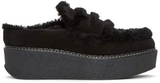Flamingos Black Suede Loco Slip-On Platform Loafers