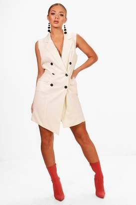 boohoo Asymmetric Hem Sleeveless Blazer Dress