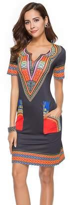 CCBETTER Women Floral Boho Dress Short Sleeve Knee Length Midi Blouse Dress V Neck Vintage Casual Dress