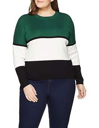 New Look Curves Women's Birdie Colourblock6079265 Jumper, Green, Large