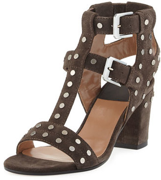 Laurence Dacade Helie Studded Suede Caged Sandal, Gray $995 thestylecure.com