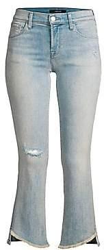 J Brand Women's Selena Mid-Rise Cropped Frayed Hem Jeans