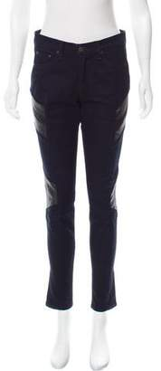 Rag & Bone Leather-Accented Mid-Rise Jeans