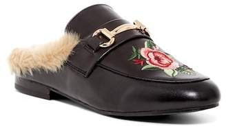 Steve Madden Jill Embroidered Faux Fur Trim Leather Mule