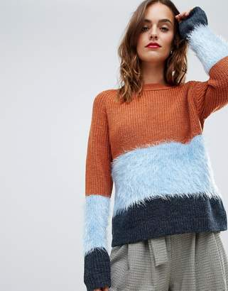 Y.A.S fluffy stripe color block knitted sweater