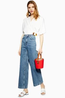 Topshop Womens Dirty Mid Blue Crop Wide Leg Jeans - Dirty Denim