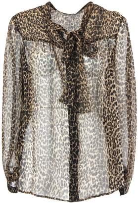 Saint Laurent Tie Blouse With Leopard Print.