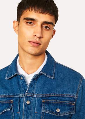 Paul Smith Men's Mid-Wash Pleat-Front Lined Denim Jacket