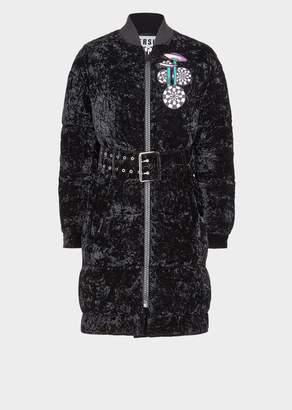 Versace Crumpled Velvet Puffer Jacket