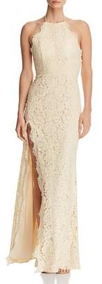 Fame & Partners Dragon Eyes Lace Halter Gown