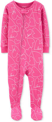 Carter's Carter Baby Girls Heart-Print Footed Pajamas